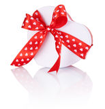 Heart Shaped Box Gift tied with ribbon with bow Isolated on white background Stock Photos