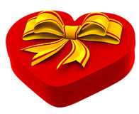 Heart shaped box with golden bow for gift. On white background Royalty Free Stock Images