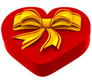 Heart shaped box with golden bow for gift. On white background Stock Photo