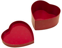 Heart Shaped Box and Lid Isolated Stock Photo