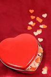 Heart shaped box with little hearts Stock Images