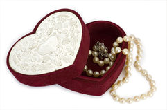 Heart shaped box with pearls Royalty Free Stock Images