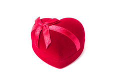 Heart shaped box. Red heart shaped box with ribbon on white background Royalty Free Stock Image