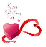 Heart-shaped box with ribbon. Illustration Stock Photos
