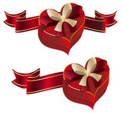 Heart Shaped Box with Ribbon Royalty Free Stock Images