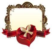 Heart Shaped Box with Ribbon Stock Photo