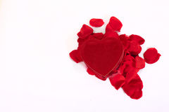 Heart shaped box and rose petals Stock Images