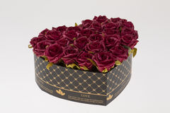 Heart shaped box with roses Royalty Free Stock Photography