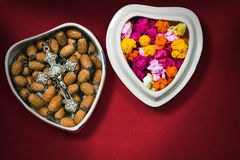 Heart Shaped Box with Silver Crucifix Stock Images