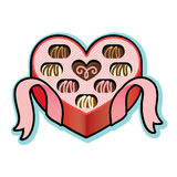 Heart shaped box with Valentine chocolates Stock Images