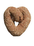 Heart Shaped Bread - Isolated. A fresh baked heart shaped loaf of rye bread Stock Photo