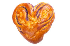 Heart shaped bread with love on white background Royalty Free Stock Image