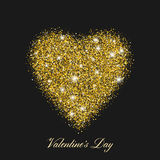 Heart shaped brilliant golden shine. With shining stars. Stylized text of the day of St. Valentines. Vector Royalty Free Stock Photography