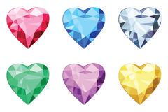 Heart shaped brilliants, no gradients. Collection of heart-shaped isolated gemstones Royalty Free Stock Images