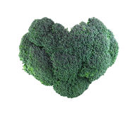Heart shaped Broccoli on white. Heart shaped broccoli isolated on white background Royalty Free Stock Images