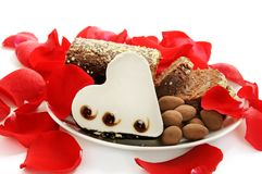 Heart shaped brownie Stock Images