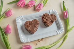 Heart Shaped Brownie Stock Photos