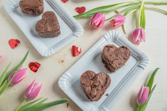Heart Shaped Brownie Royalty Free Stock Photos