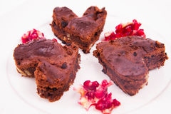 Heart shaped a brownie Stock Images