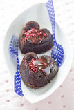 Heart shaped brownies Stock Photos