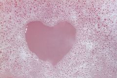 Heart Shaped Bubbles.Abstract, Foam bubbles white background. Detergent. royalty free stock image