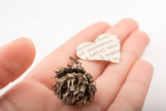 Heart shaped burnt out of texted  paper Royalty Free Stock Photo