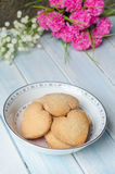 Heart-shaped butter cookies. Royalty Free Stock Image