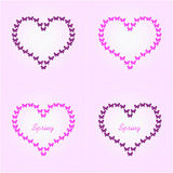Heart shaped butterfly flight, pink and black butterflies. Raster Royalty Free Stock Photo