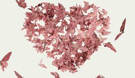 Heart shaped butterfly pink color Stock Photos