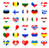 Heart shaped buttons of Europe. An countries flags Royalty Free Stock Image
