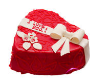 Heart-shaped cake. Photo of heart-shaped cake on white background Stock Image