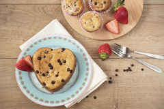 Heart Shaped Cake. Chocolate Covered Strawberry Muffins Stock Image