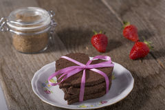 Heart-shaped cake with decoration Royalty Free Stock Photography