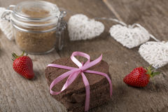 Heart-shaped cake with decoration Royalty Free Stock Photos