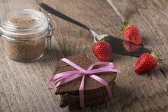 Heart-shaped cake with decoration Stock Image