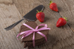 Heart-shaped cake with decoration Royalty Free Stock Image
