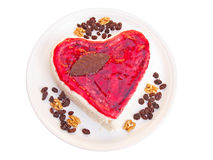Heart shaped cake isolated on white Stock Photography