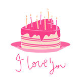 Heart-shaped cake with pink icing, candles and I love you text. Valentine's day love card with illustration of heart-shaped cake with pink dripping icing, firing Royalty Free Stock Images