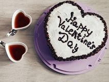 Heart-shaped cake for St. Valentines Day royalty free stock photography