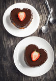 Heart shaped cakes with chocolate and strawberry Royalty Free Stock Image
