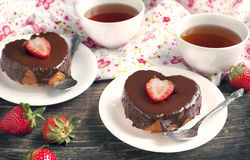 Heart shaped cakes with chocolate and strawberry Royalty Free Stock Photos