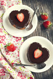 Heart shaped cakes with chocolate and strawberry Stock Photography