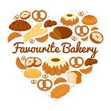 Heart shaped cakes  sweets and bread badge. With central text - Favourite Bakery - with pretzels  muffins  loaves of bread  croissants  cakes and donuts  vector Stock Image