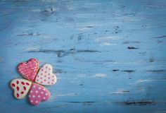 Heart shaped cakes on wooden background. Close-Up Of Heart Shape Cookies On Wooden Table background Royalty Free Stock Photos