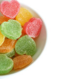 Heart-shaped candies in bowl Stock Photography