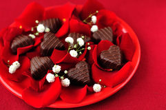 Heart-Shaped Candies with Rose Petals Stock Photos