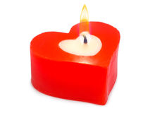 Heart shaped candle Royalty Free Stock Images