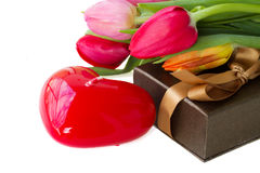 Heart shaped candle and gift box Stock Images