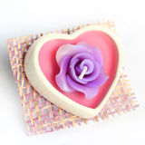 Heart-shaped  candle with roses Stock Photography