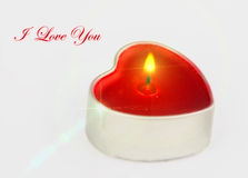 Heart shaped candle with text Stock Photography